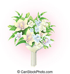 bridal bouquet - Vector illustration of beautiful bridal ...