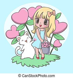 Vector Illustration of Beautiful cute little girl carrying heart with cat