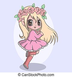 Vector Illustration of Beautiful cute little girl with wreath on head