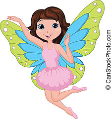 Beautiful fairy cartoon - Vector illustration of Beautiful...