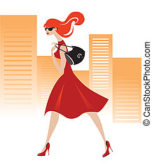 Vector illustration of beautiful fashion girl and the city