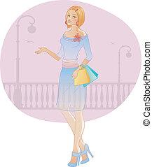 Beautiful fashion woman with bag