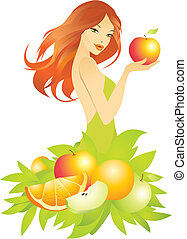 vector illustration of beautiful girl with fruits