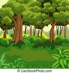 Beautiful green jungle with plants