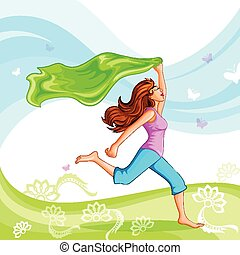 Happy Women's Day - vector illustration of beautiful lady in...