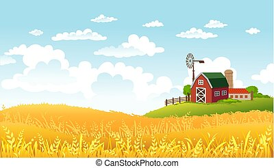 Vector illustration of beautiful landscape with farm. - ...