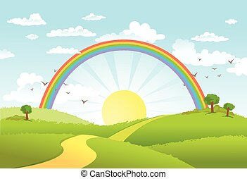 Vector illustration of beautiful landscape with rainbow. - ...