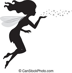 Vector illustration of Beautiful love fairy sanding blowing magic spell