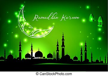 Beautiful mosque with moon on green sky background