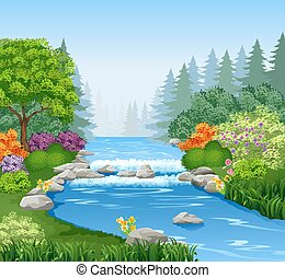 Beautiful mountain river in forest - Vector illustration of...