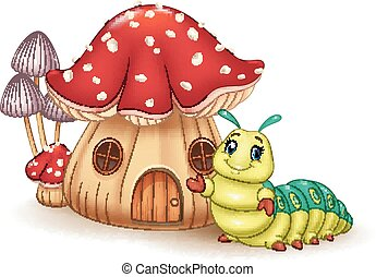 Beautiful mushroom house - Vector illustration of Beautiful...