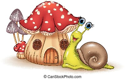 Vector illustration of Beautiful mushroom house and happy snail cartoon