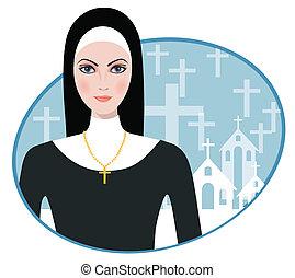 Vector illustration of Beautiful nun