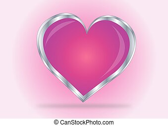 Vector illustration of beautiful red glossy heart shape