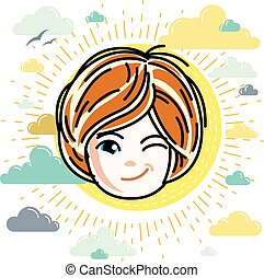 Vector illustration of beautiful red-haired happy girl face, positive face features, clipart. Teenager winking.