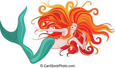 red-haired mermaid - Vector illustration of beautiful red-...