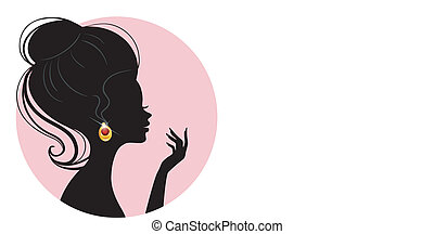 Beautiful silhouette woman - Vector illustration of...