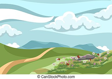 beautiful summer landscape with flowers