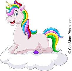 Beautiful unicorn cartoon on a cloud