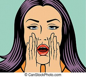 vector illustration of beautiful woman calling someone (shouting loud) in pop art style