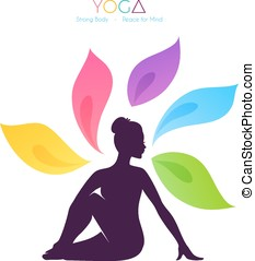 Beautiful woman doing yoga - Vector illustration of...