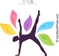 Beautiful woman doing yoga - Vector illustration of...