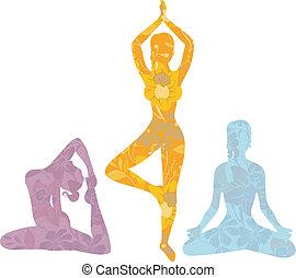 Beautiful woman doing youga exercises - Vector illustration ...