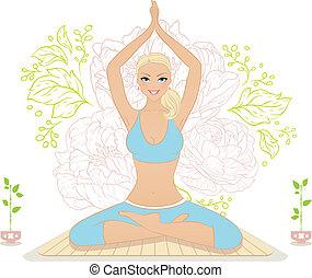 Beautiful woman doing youga exercises
