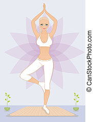 Beautiful woman doing youga exercises - Vector illustration...