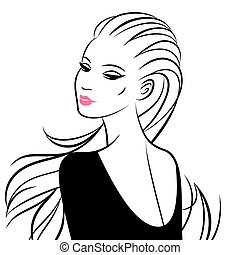 Vector illustration of beautiful woman isolated on white.