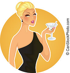 Beautiful woman with cocktail