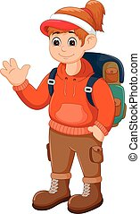 beauty backpacker cartoon standing with smile and waving