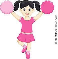 beauty cheerleader cartoon action with waving cheerful -...