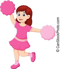 beauty cheerleader cartoon standing on one leg with waving and smile