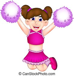 beauty cheerleading cartoon jumping with smile