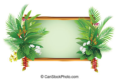 beauty decorating tropical plants - vector illustration of ...
