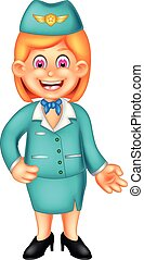 beauty flight attendant cartoon standing with smiling and waving