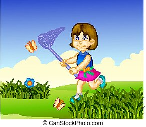 beauty girl cartoon catching butterfly with running