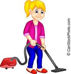 beauty girl cartoon cleening floor with vacum cleener