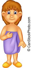 beauty girl cartoon standing using towels with smile