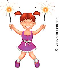 beauty girl cartoon standing with smile and play firework