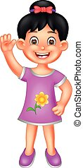 beauty girl cartoon standing with smile and waving