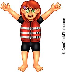 beauty girl cartoon standing with waving and using buoy costume