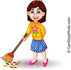 beauty girl cartoon sweeping floor with smile