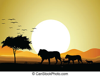 lion family silhouette