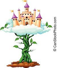 beauty palace cartoon on sky