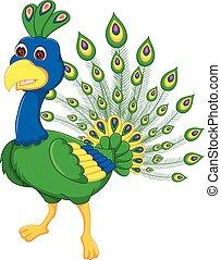beauty peacock cartoon posing with smile