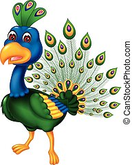 beauty peacock cartoon posing with smiling