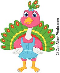 beauty peacock cartoon standing with laughing