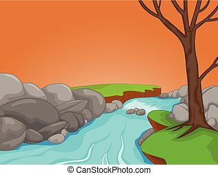 beauty river scenery cartoon on afternoon